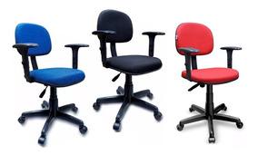 Cadeira Secretária Giratória Escritório C/ Braço Regulável