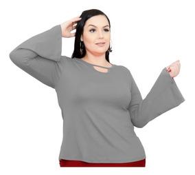 Roupa Feminina Blusa Plus Size Manga Longa Flare