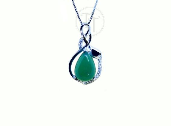 Collar Jade Natural Plata Esterlina 925 Panyabí