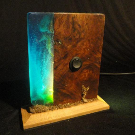 Luminária Resina Azul, Imbuia E Pinho Led 5w Luz Noturna