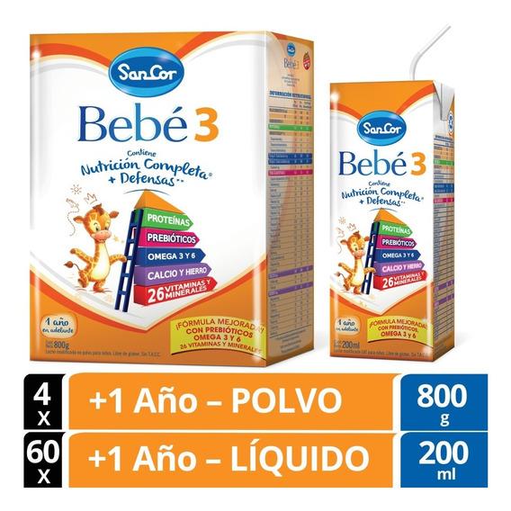 Sancor Bebe 3 Leche Líquida Combo 60x200ml Y Polvo 4x800gr