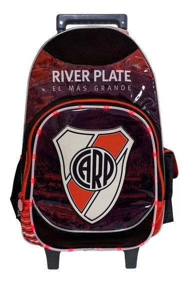 Mochila Carrito 18¨escolar River Plate Con Luz Led (ri 264)