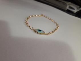 Pulseira Portuguesa Olho Grego Navete 20cm Ouro 18k