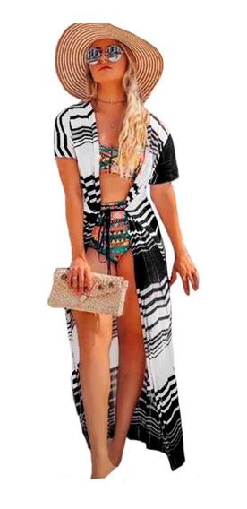 Saída De Praia Longa Kimono Tricot Verão Zig Zag Luxo