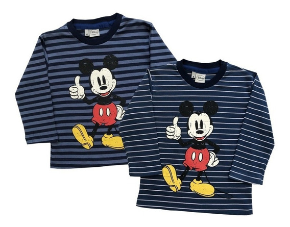 Remera Mickey Manga Larga Rayada Disney!
