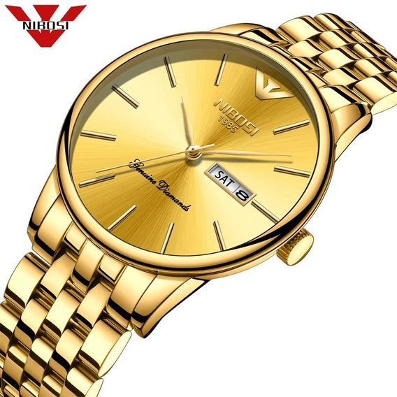Relógio Nibosi Dourado Unissex Luxuoso Original Aço Inox
