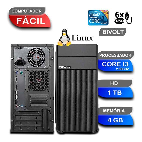 Computador Cpu Fácil Intel Core I3 2,93 4gb Ddr3 E Hd 1tb