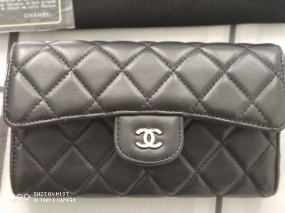Chanel Carteira Preta Original Com Cartão De Autenticidade.