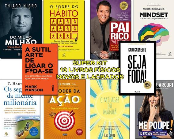10 Livros Poder Do Hábito, Mindset, Pai Rico Pai Seja Foda