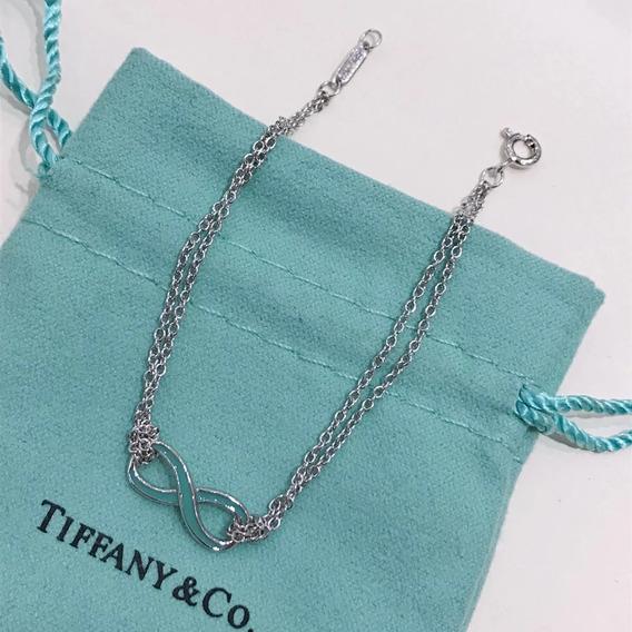 Pulseira Tiff Infinity Prata Com Embalagem Bracelete