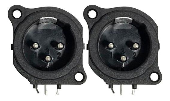 Kit 2 Plug Conector Star Cable Xlr Macho 90º P/ Placa