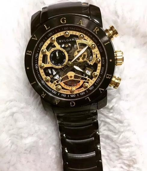 Relógio Bv Skeleto Gold/white 18k Top Linha Gratife