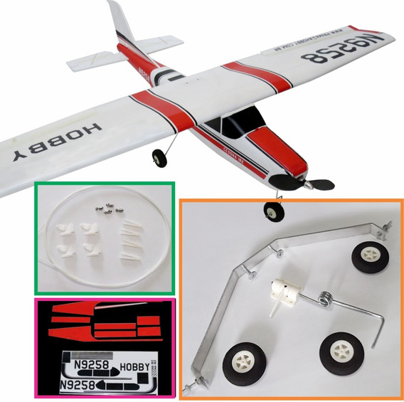 Kit Aeromodelo Cessna + Trem De Pouso + Linkagem + Decalcs