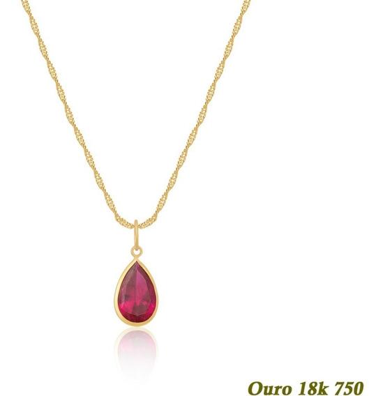 Cordão Singapura Ouro 18k 45cm Gota Verde Esmeralda