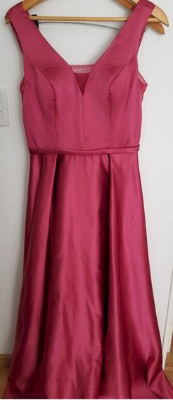 Vestido Fiesta Raso Falda Amplia Bordo Rosa T L - Un Uso