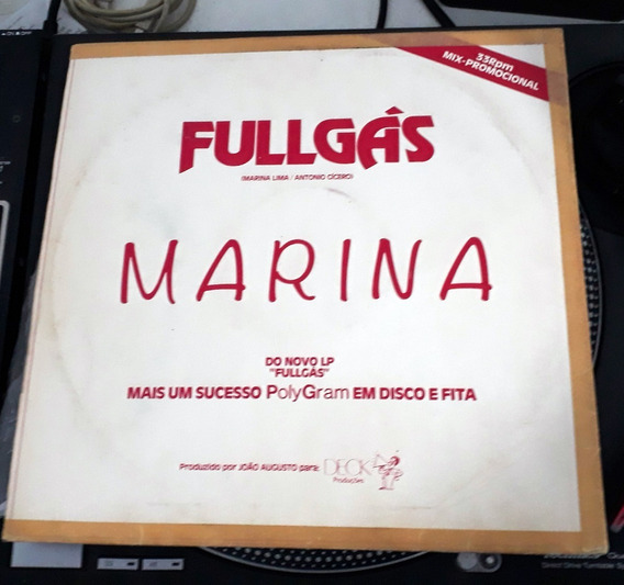Marina Lima ¿ Fullgás Vinil Single Nacional Promo Raro!