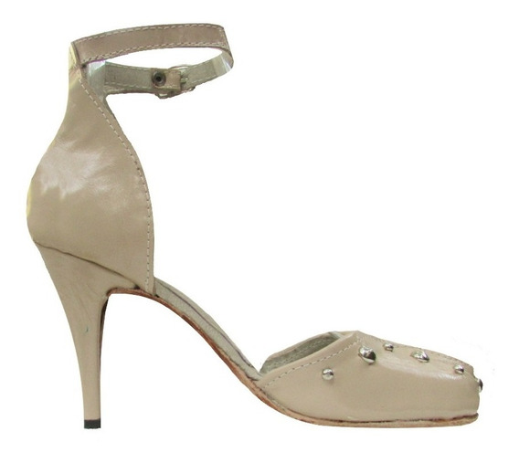 Zapato Alto Vestir Con Tachas Estilo Mary Jane Con Hebilla