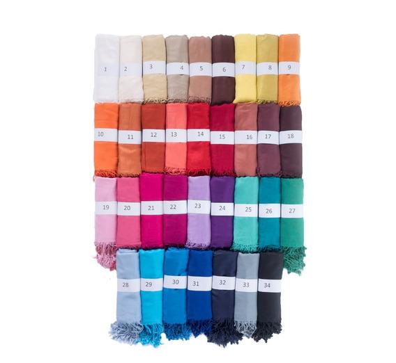 15 Pashminas Chalinas Bufandas Lisas Con Flecos 40 Colores A Elección (precio Por Mayor)