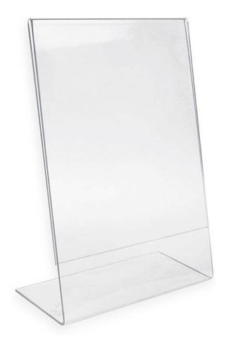 Display Expositor Acrílico A4 Em L Ps Cristal Mesa Balcão Vertical
