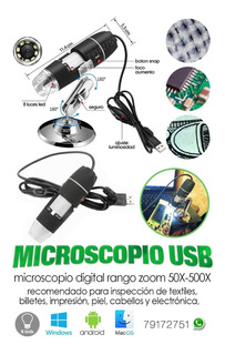 Microscopio Digital Usb Zoom Ajustable Con Luz