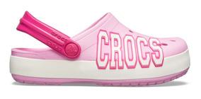 Zapato Crocs Unisex Infantil Crocband Logo Rosa/blanco