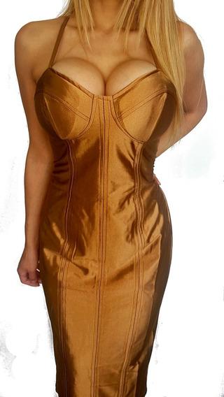 Vestido Mujer Espalda Abierta Brillo Satén Oro Sin Mangas