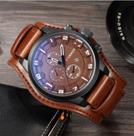 Relógio Curren 8225 Social Luxo Esportivo Top Couro