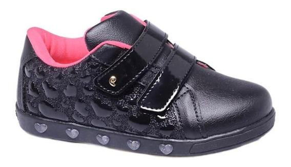 Tênis Sneaker Pampili Luz Coração Preto Frete Free 010628