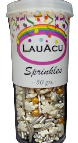 Sprinkles - Blanco, Dorado Y Plata-  60grs / Lauacu