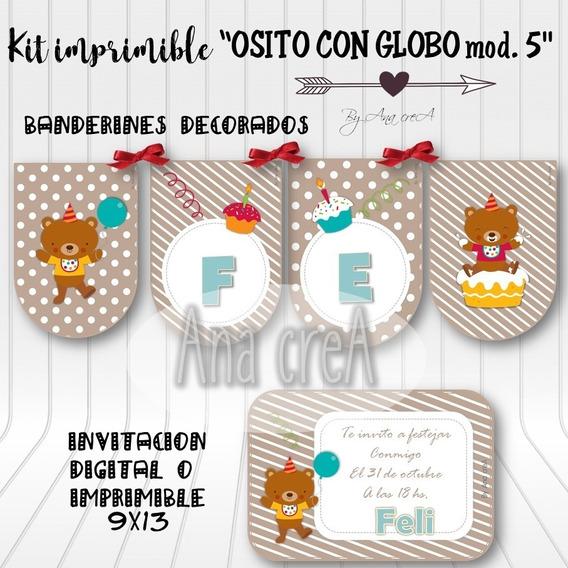 Kit Personalizado Osito Con Globo - Mod. 5 - Imprimible Oso