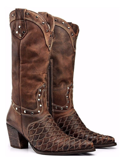 Bota Feminina Country Texana Escama Capelli Boots