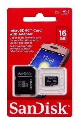 Cartão De Memória Sandisk Micro Sdhc 16 Gb + Adaptador