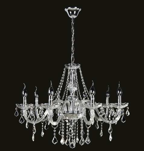 Lustre De Cristal K9 8 Lâmpadas Maria Thereza Transparente