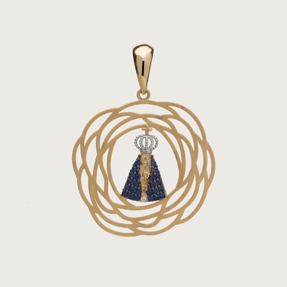Pingente Nossa Senhora Aparecida Vazado Em Ouro 18k (750)