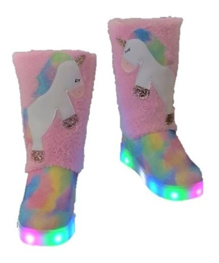 Bota Niña Unicornio Led Invierno Luces Larga Rosa Alfelpada