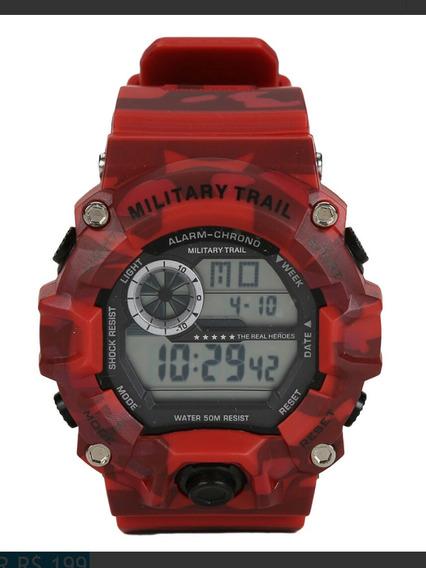 Relógio Military Trail Midway Usa Army - Vermelho