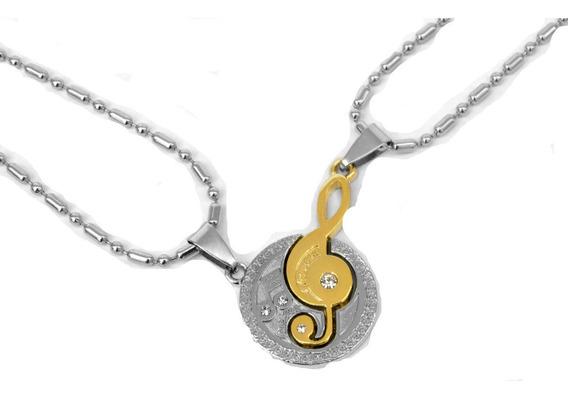 Collar Novios Amigos Clave De Sol Nota Musical Envío Gratis