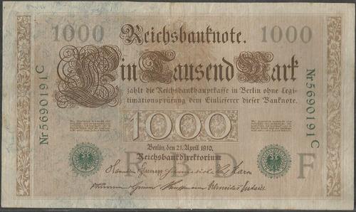 Alemania 1000 Mark 21 Abr 1910 P45b