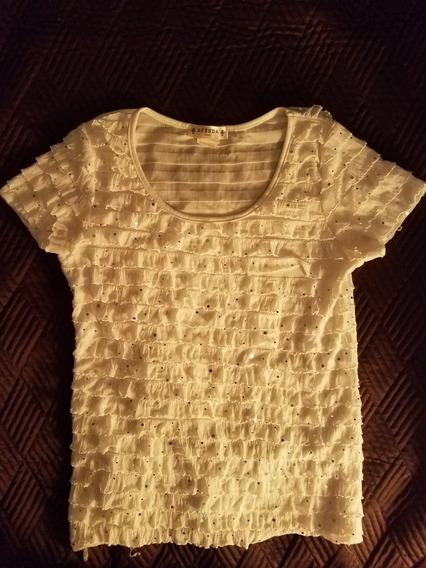 Blusa Blanca Con Aplicaciones Plata Dama Talla Petite