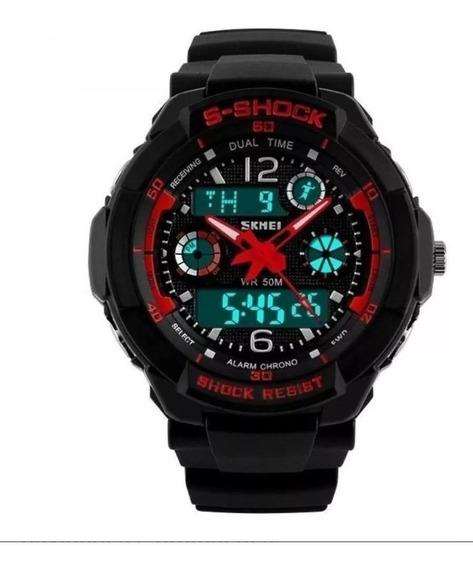 Relógio Skmei 0931 S Shock Preto Vermelho Original Masc.