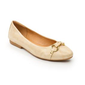 Zapato Flexi Mujer Oro Balerinas Doradas Dama Piel Confort