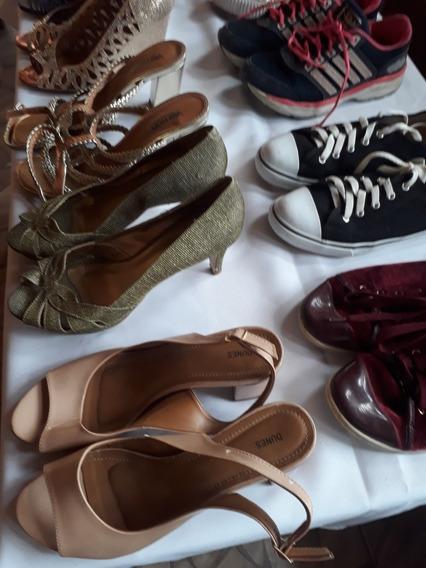 Kit 9 Pares Sapatos & Tênis Femininos Em Ótimo Estado