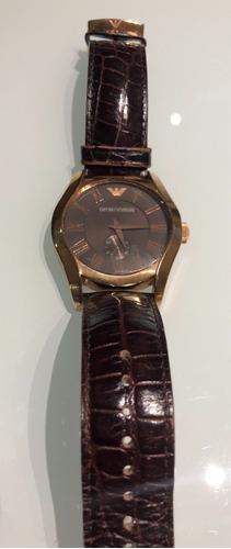 Relógio Empório Armani, Dourado Com Pulseira Em Couro
