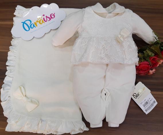 Saida Maternidade Plush Luxo Paraiso Bebê Menina Macacao Enxoval Batizado Cod 9089
