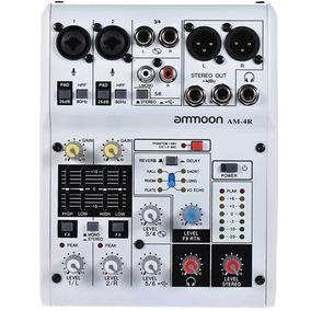 Mesa Placa De Som Mixagem Digital Usb Ammoon Am-4r 6 Canais