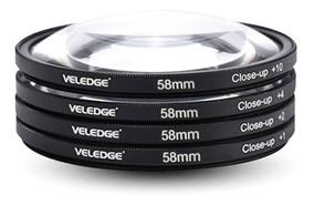 Kit Filtros Lentes Close Up +1+2+4+10 Macro Canon Rosca 58mm
