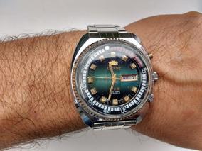 Relógio Orient Automático Kd Antigo Raro Bem Grande Verde