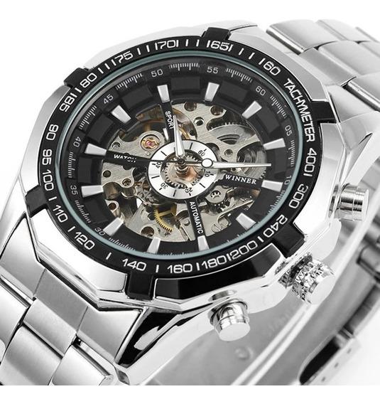Reloj Hombre Automático Mecánico Winner Skeleton