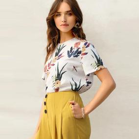 Mulheres Roupa 2019 Plantas Impressão T Camisa Verão Curto