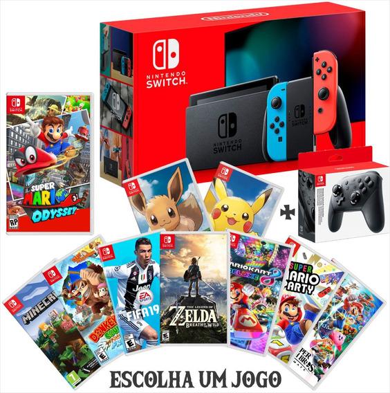Nintendo Switch Neon + Pro Controller + Jogo A Escolher